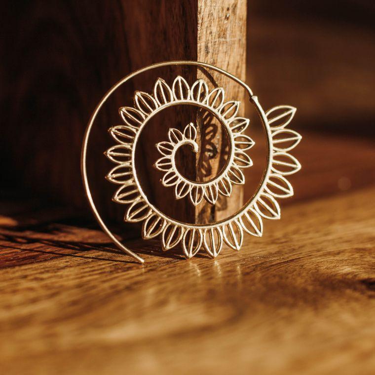 Sunflower Spiral Earrings - Brass