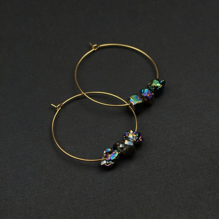 Aura Quartz Hoop Earrings, Aura Quartz Earrings