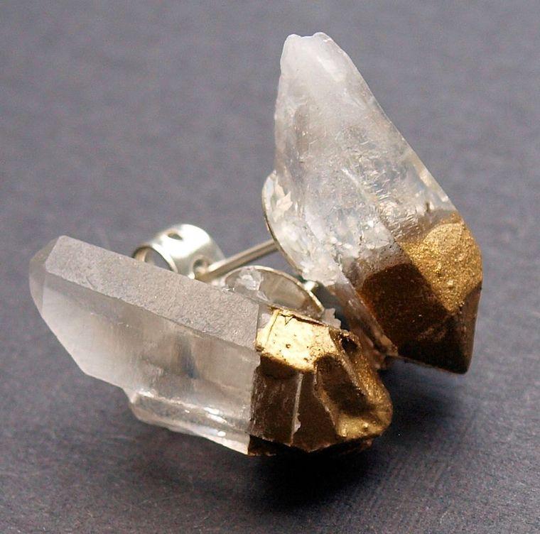Gold & Raw Quartz Chunk Earrings, Geo Earrings, Rock Stud Earrings, Crystal Earrings