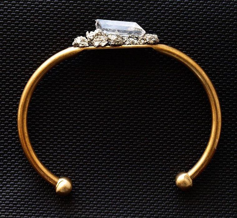 Pyrite and Quartz Gold Bangle, Pyrite Bracelet