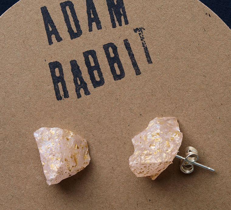 Gold Splatter & Raw Rose Quartz Chunk Earrings, Geo Earrings, Rock Stud Earrings, Crystal Earrings
