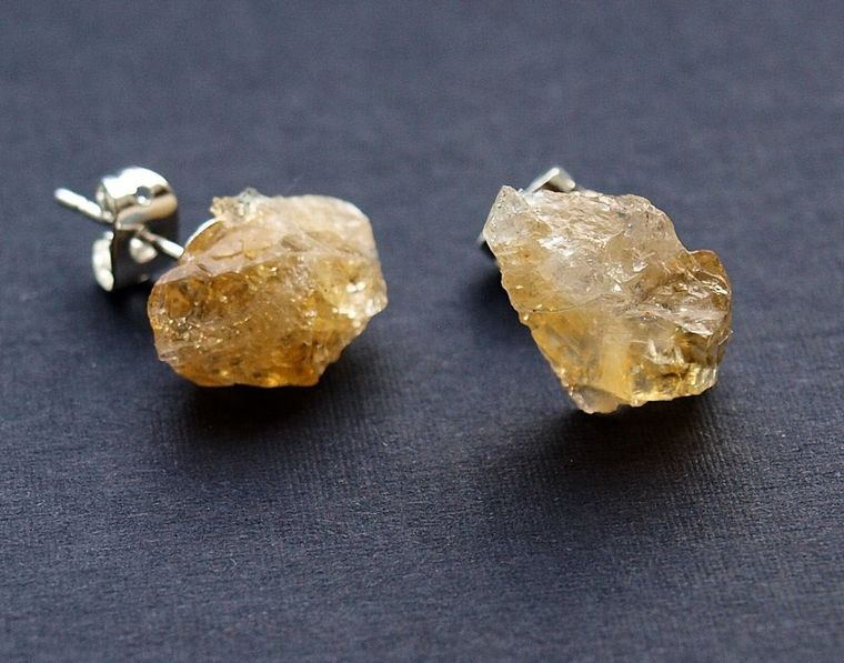 Raw Citrine Chunk Earrings, Geo Earrings, Rock Stud Earrings, Crystal Earrings