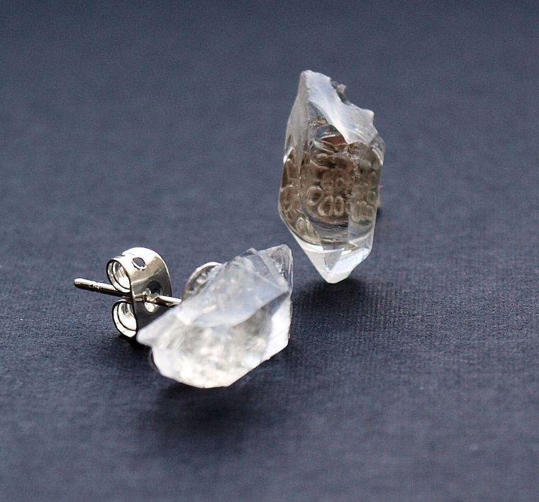 Raw Quartz Chunk Earrings, Geo Earrings, Rock Stud Earrings, Crystal Earrings