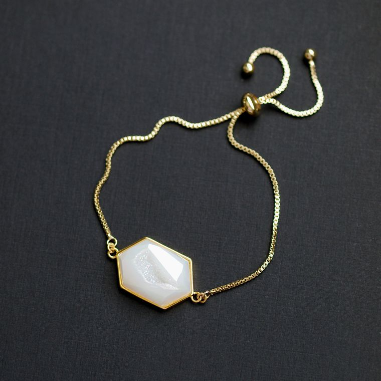 Small Angel Aura Quartz Adjustable Bracelet, Aura Quartz Bracelet