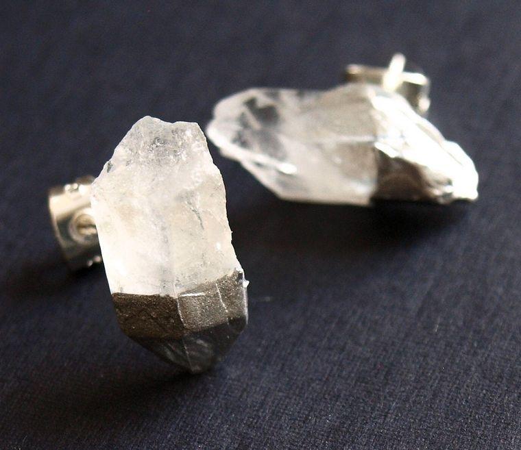 Silver & Raw Quartz Chunk Earrings, Geo Earrings, Rock Stud Earrings, Crystal Earrings