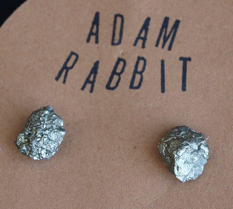 Raw Pyrite Chunk Earrings, Geo Earrings, Rock Stud Earrings