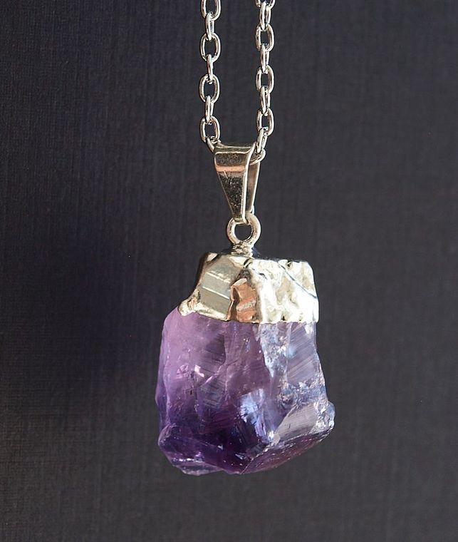 Raw Amethyst Crystal Statement Necklace