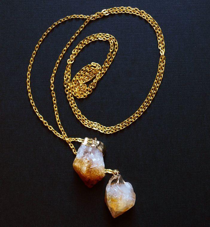 Citrine Wrap Necklace, Gold Citrine Lariat Necklace