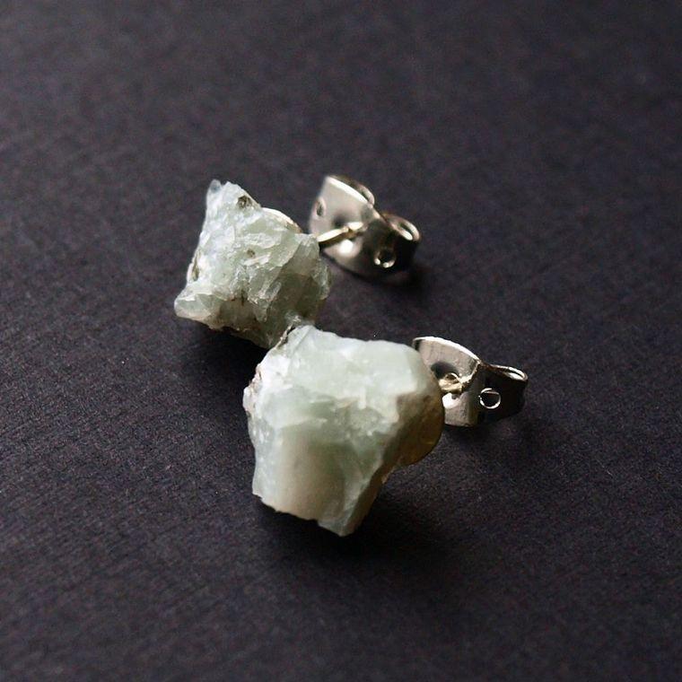 Raw Emerald Earrings, Emerald Studs