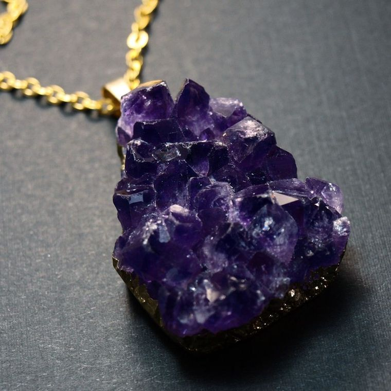Raw Amethyst Druzy Necklace, Amethyst Cluster Necklace