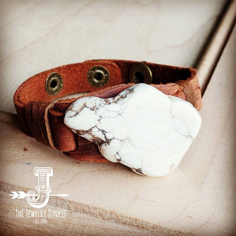 White Turquoise Chunk on Narrow Leather Cuff 005Y
