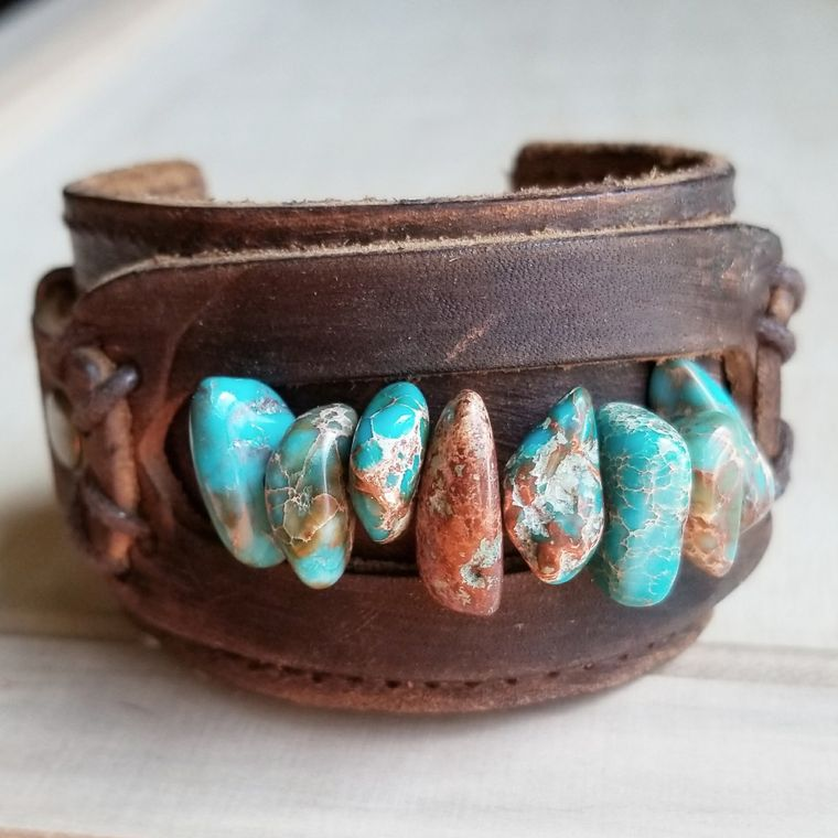 Dusty Leather Cuff with Turquoise Regalite Gemstone Chunks 006d