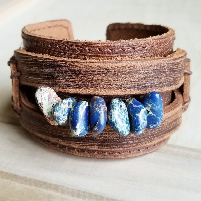 Dusty Leather Cuff with Navy Blue Regalite Gemstone Chunks 006e
