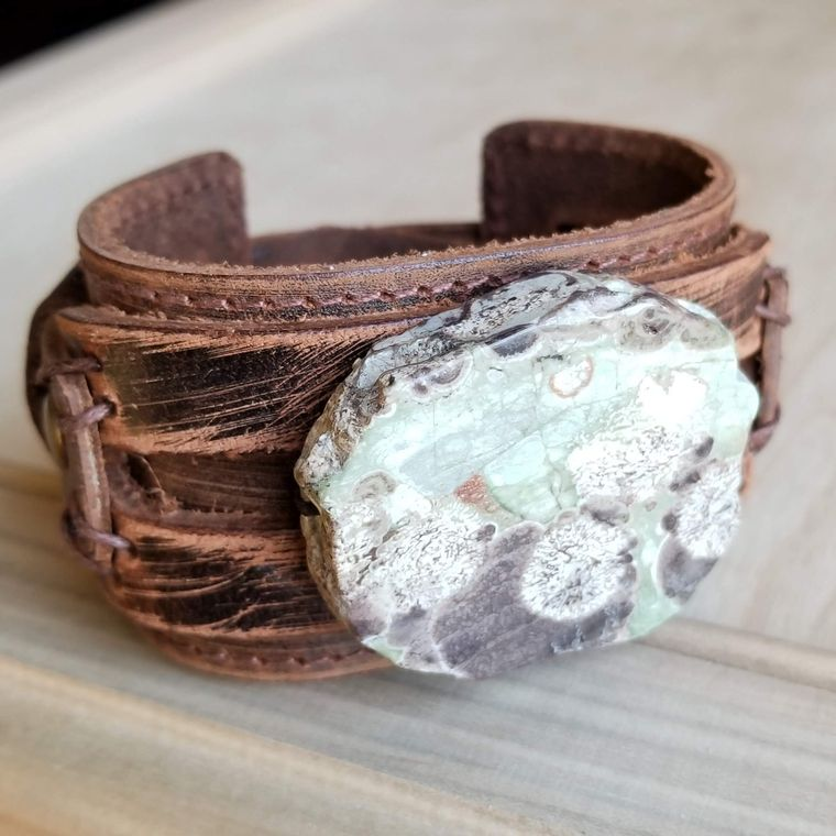 Brown Ocean Agate on Dusty Leather Cuff 006g