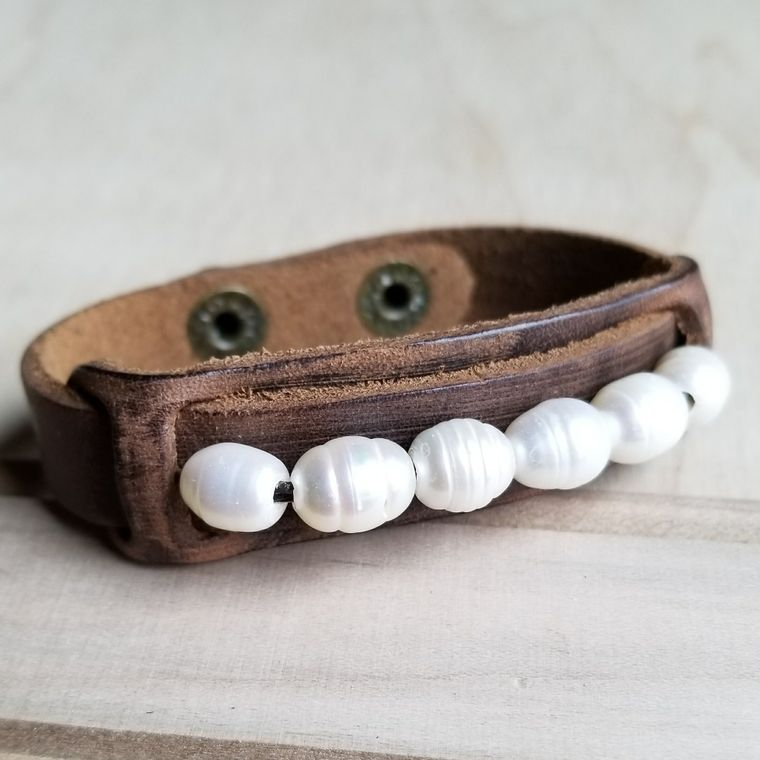 Dusty Leather Narrow Cuff with Genuine Freshwater Pearls 006r