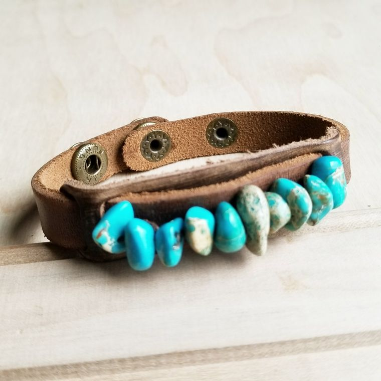 Dusty Leather Narrow Cuff with Turquoise Regalite Stones 006v