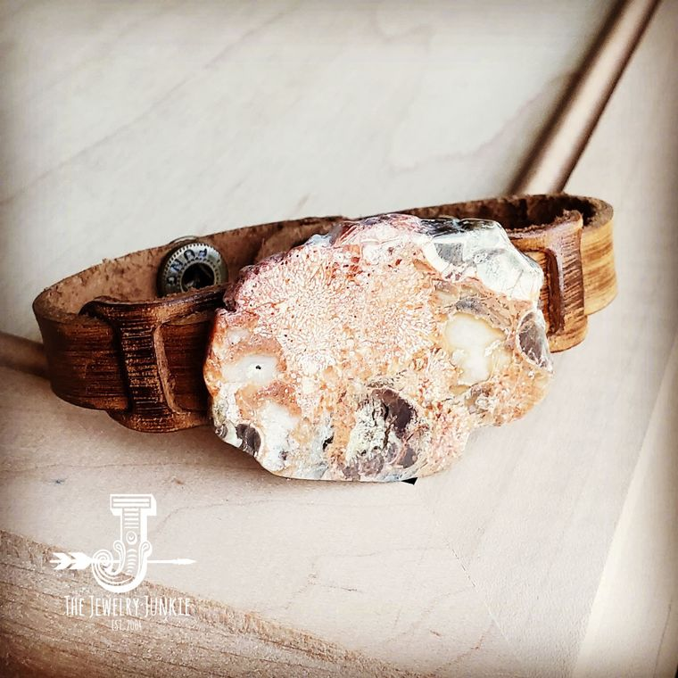 Dusty Leather Narrow Cuff with Brown Ocean Agate Slab 006z