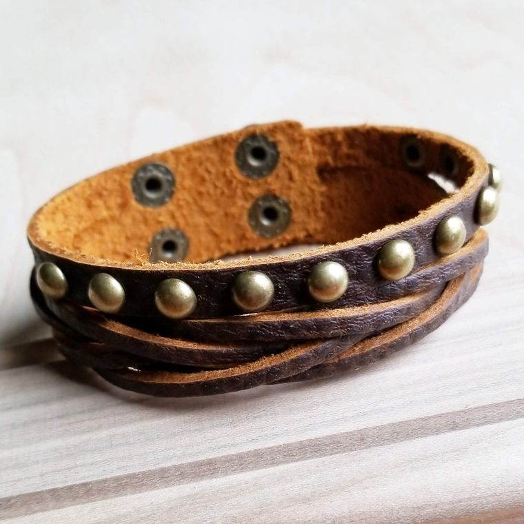 Multi-Strand Leather Cuff with Antique Gold Studs 007s