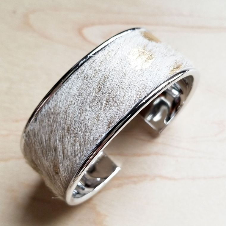 Hair-on-Hide Cream and Gold Leather Cuff Bangle Bracelet-Narrow 008m