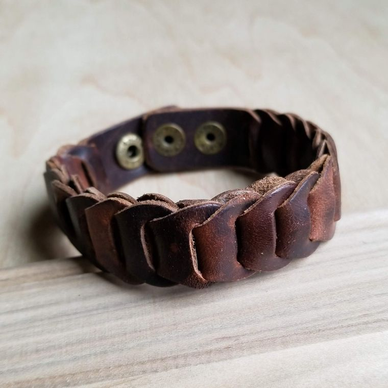 Woven Vintage Narrow Leather Cuff 008w