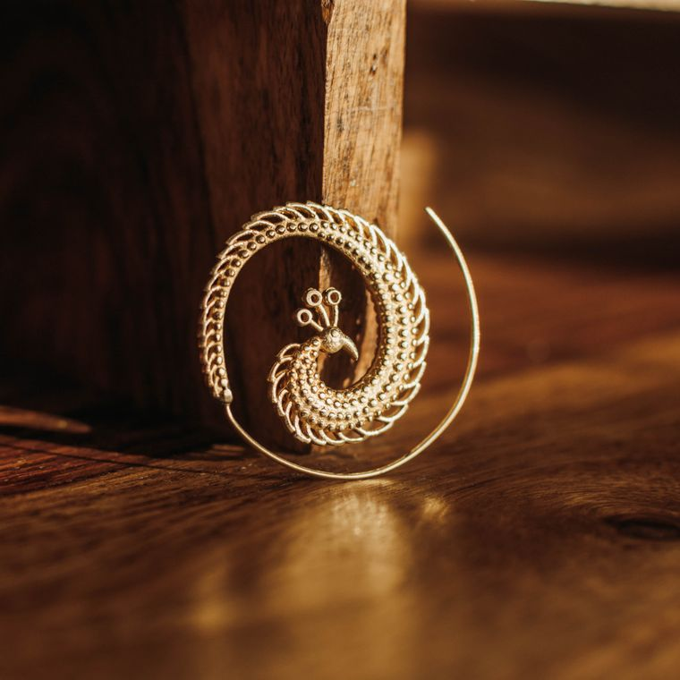 Peacock Spiral Earrings - Brass