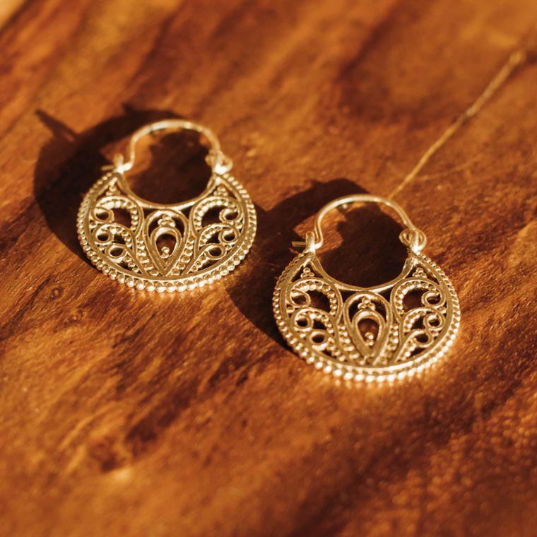 Secret Garden Earrings - Brass