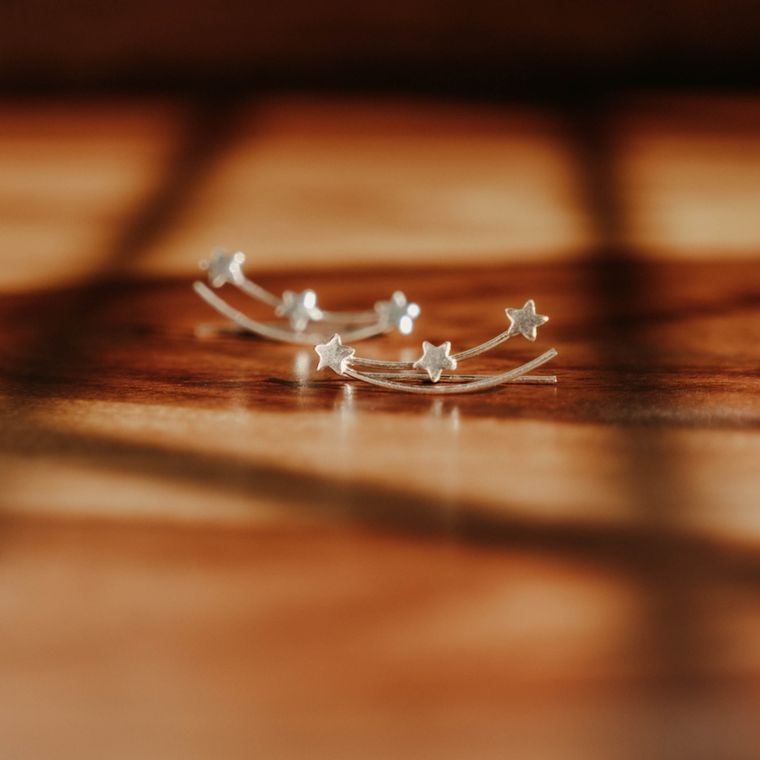 Shooting Star Ear Climbers - Sterling Silver