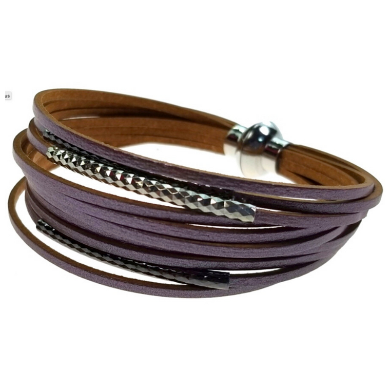 Madrid - Lavender leather with silver and gunmetal tubes, magnetic closure bracelet