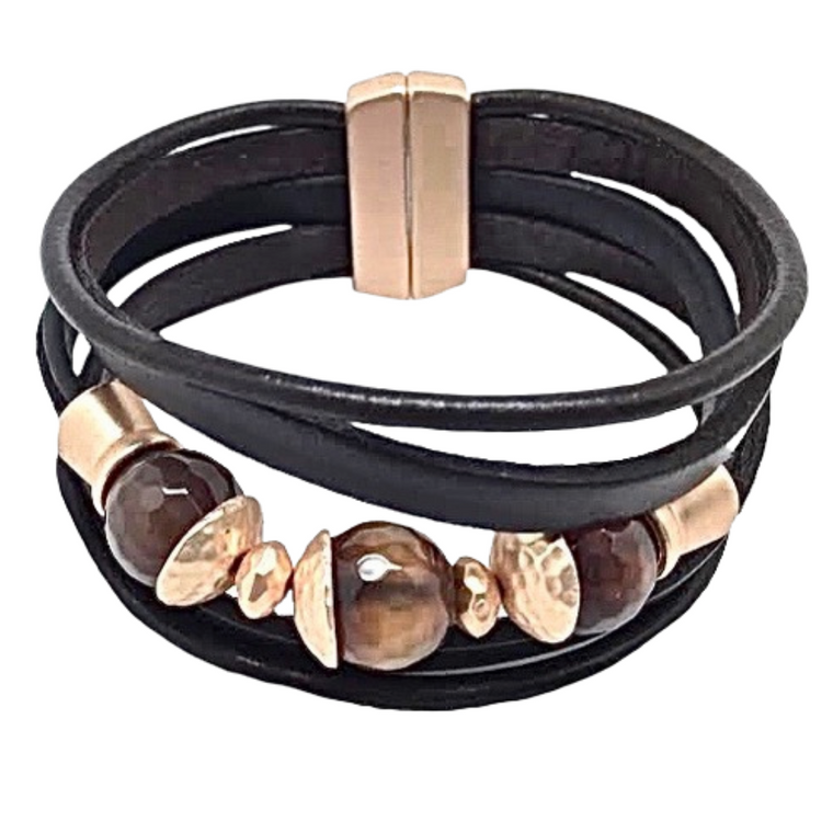 Tahlia - Brown leather bracelet with natural agates and matte gold accents