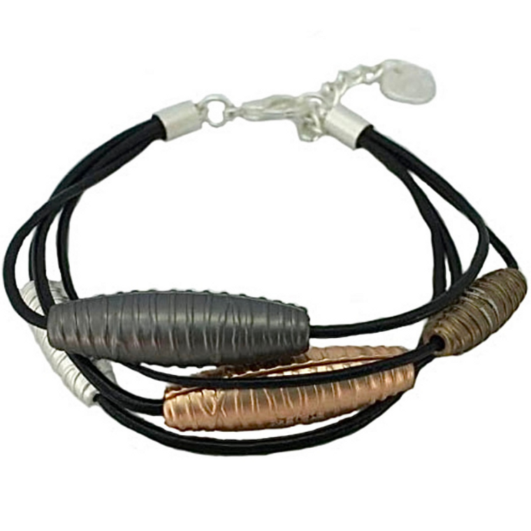 Cancun - Mix metal tubes with black leather bracelet