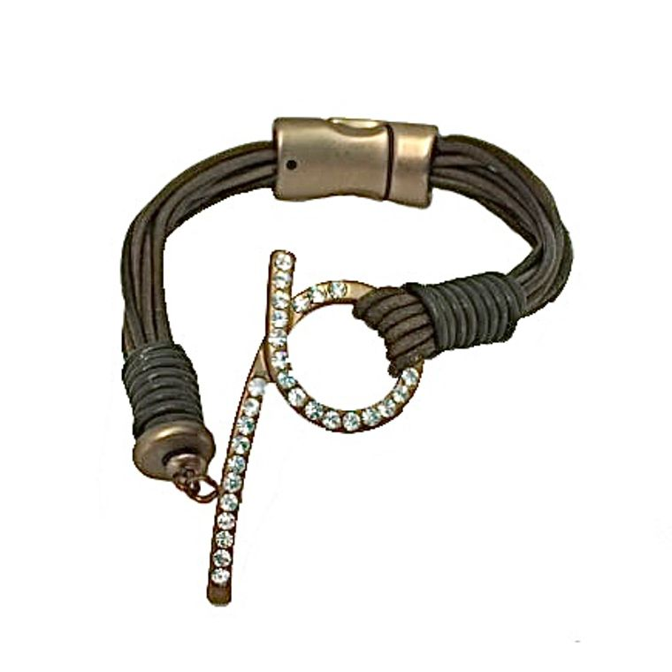Bonnie - Olive green leather bracelet with antique bronze clear crystal loop