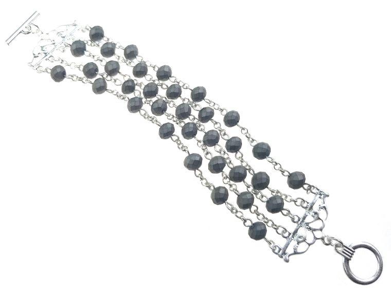 Silverado - Matte silver links with matte grey beads bracelet