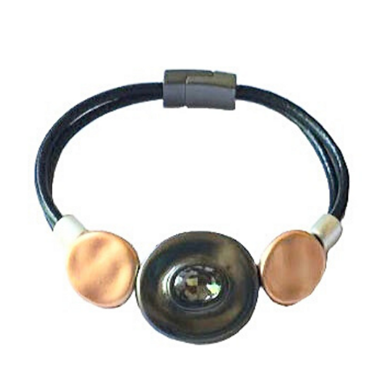 Jenine -Black leather mix metal bracelet, black diamond bracelet