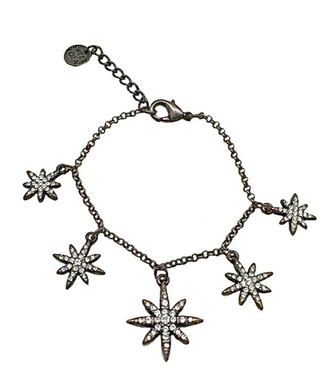 Darma - 5 Antique bronze stars with clear crystals charm bracelet
