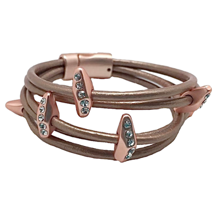Carly - Pink champagne leather bracelette matte rose gold alloy and clear crystals