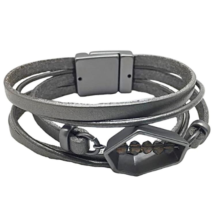 Ty - Dark silver leather bracelet, matte gun metal polygon & grey beads