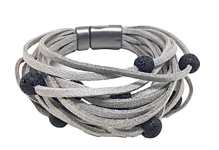 Pia - Metallic faux suede bracelet, volcanic beads