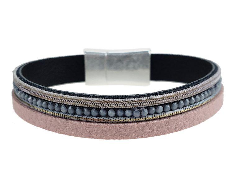 Moraga - Pink leather with grey crystals bracelet