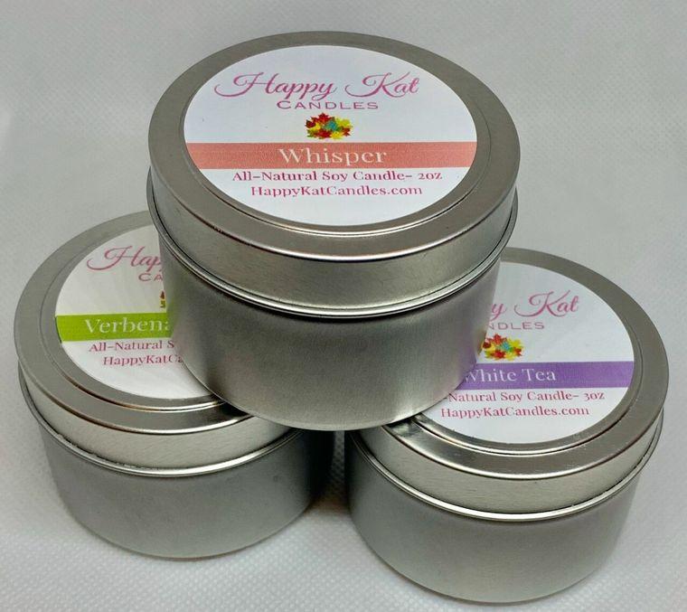 12pk Variety- All Natural Soy Candle- Travel Tins