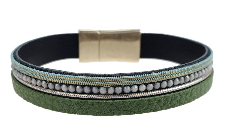 Sadie - Green leather with light blue crystals braclet