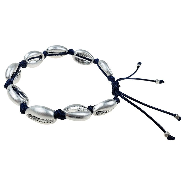 Amelia - Navy cord with burnished silver shells bracelet