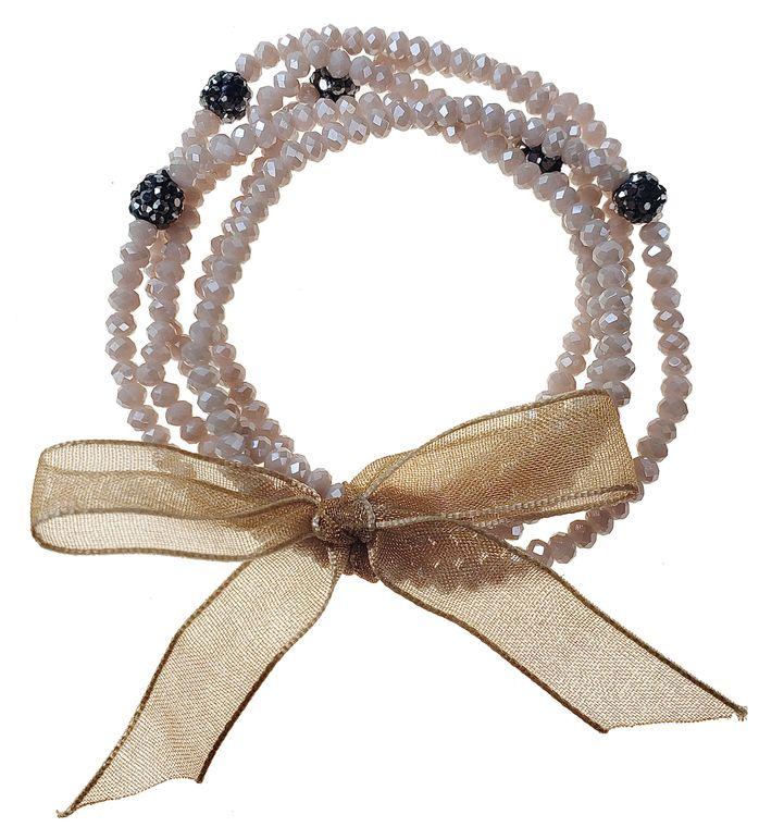 Harietta - Multi row stretch pink glass beads bracelet with black crystal balls