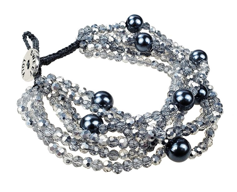 Hara - Multi row silver grey beads with faux pearls bracelet