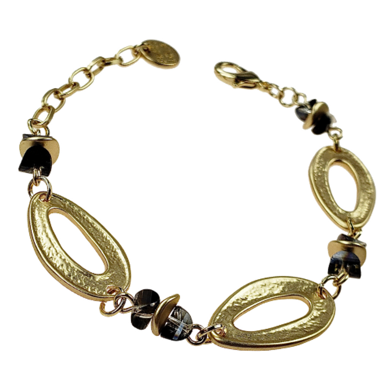 Harley - Oval gold links with smoky beads bracelet