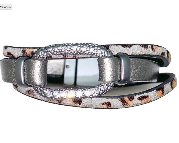 Amanda - Grey animal print cowhide with oval gun metal & clear crystals