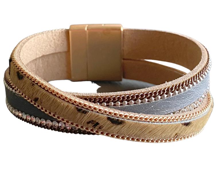 Allure - Animal print bracelet & grey cowhide