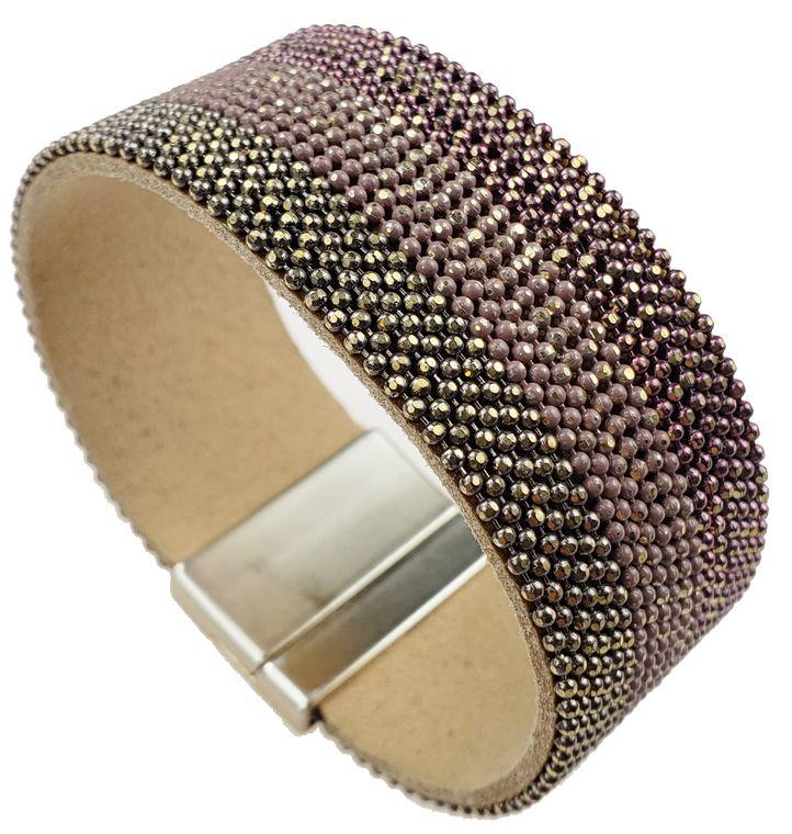Teesha - 3 Tone metal rows, rose gold, gold, copper bracelet.