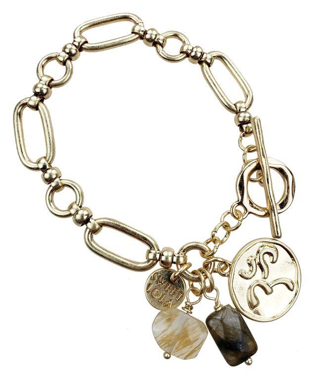 Prinn - Gold link bracelet with labradorite& pineapple quartz gemstone & OM charms