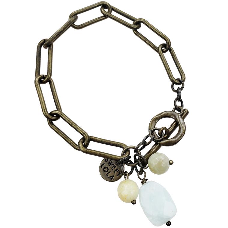 Amani - Antique bronze links bracelet with amazonite gemstone charms