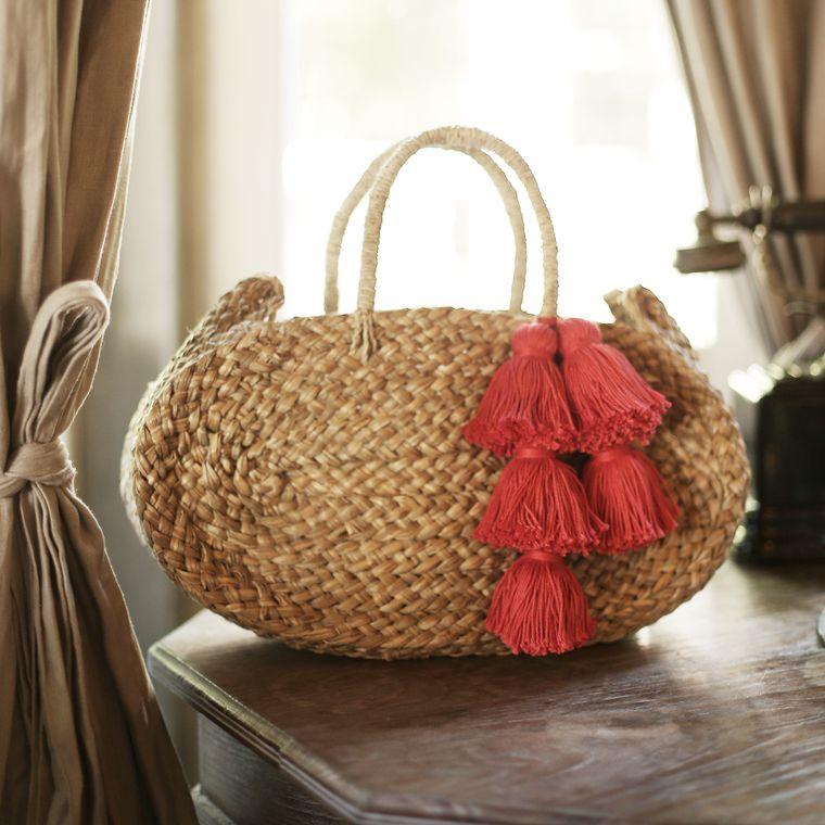 Oval Luna Straw Beach Bag - with Red Tassels (1-3 days)